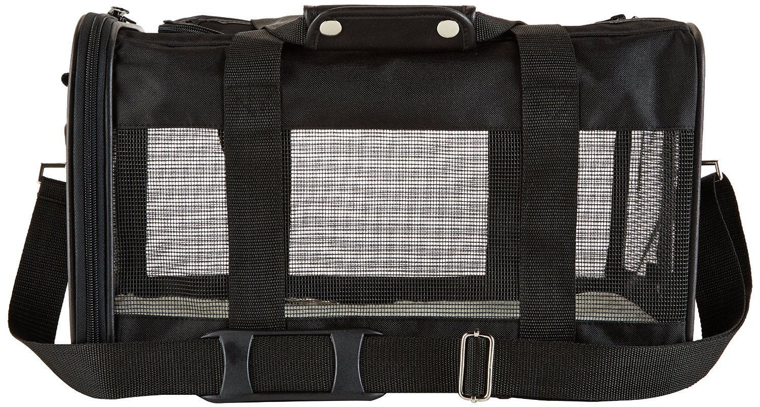 AmazonBasics Black Soft-Sided Pet Carrier Side View