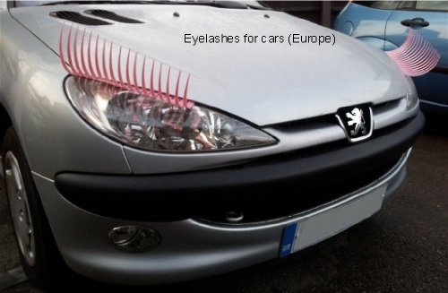 pink eyelashes for cars close up