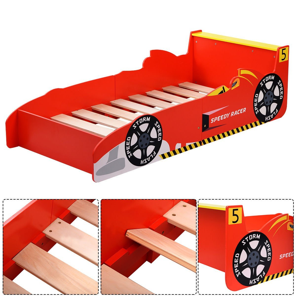 wooden toddler car bed for boys